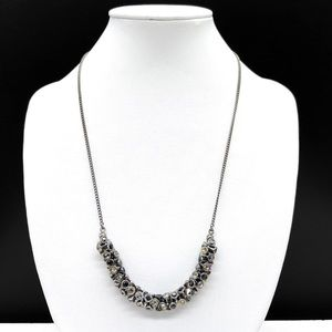 Fossil Crystal Rhinestone Cluster Beaded Necklace Gray